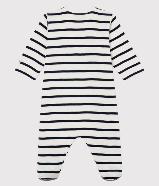Babies' Striped Ribbed Sleepsuit Marshmallow white / Smoking blue