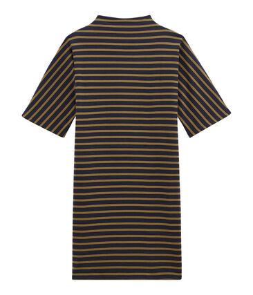 women's short sleeved striped dress in heavyweight jersey