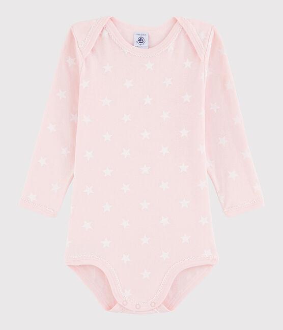 Baby Girls' Long-Sleeved Bodysuit Minois pink / Marshmallow white