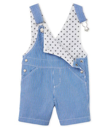 Unisex Baby's Striped Short Dungarees Surf blue / Ecume white