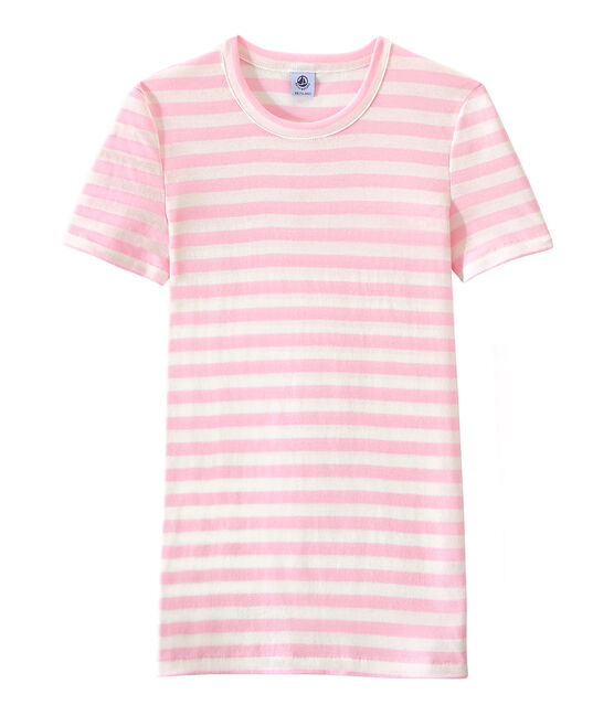 Women's T-shirt in heritage striped rib Babylone pink / Marshmallow white