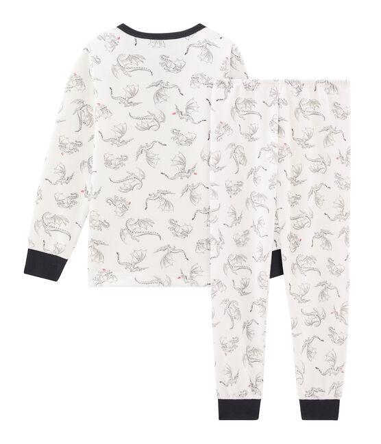 Boys' Velour Pyjamas Marshmallow white / Multico white