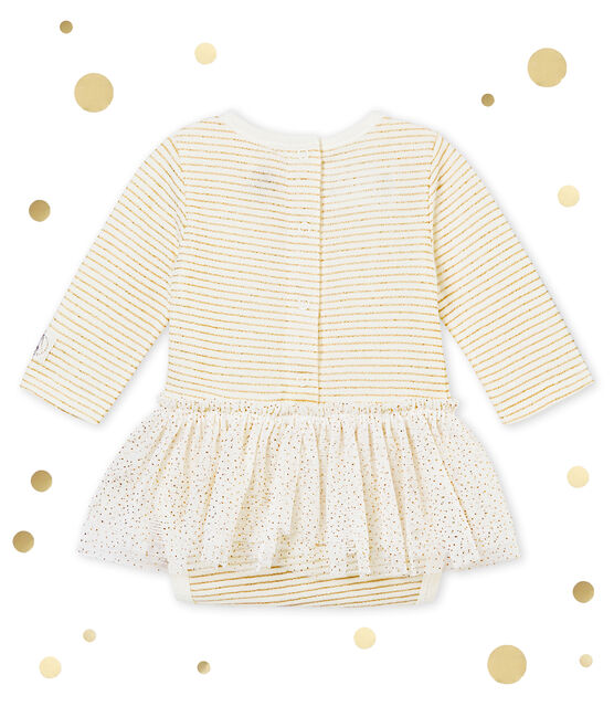 Baby girls' bodysuit dress Marshmallow white / Dore yellow