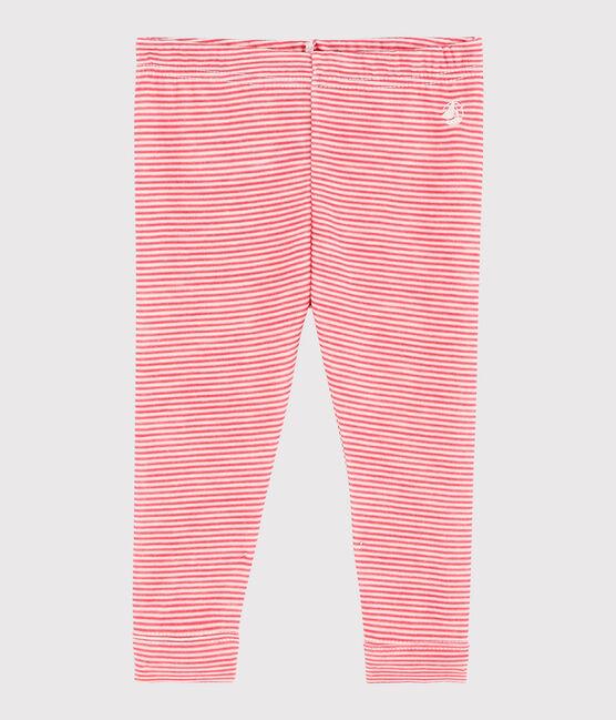 Baby girl's pinstriped leggings POPPY/MARSHMALLOW