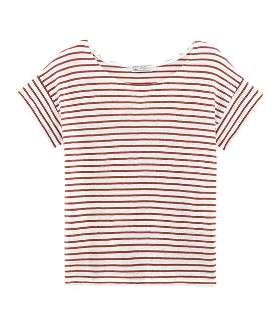 Women's short-sleeved linen t-shirt Marshmallow white / Copper pink