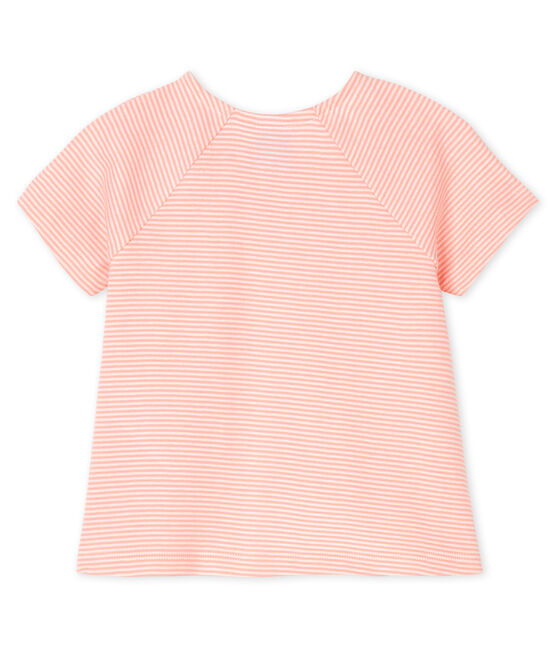 Baby girls' short-sleeved T-shirt Patience pink / Marshmallow white
