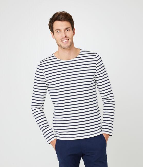 Men's iconic stripy breton top Coquille beige / Smoking blue