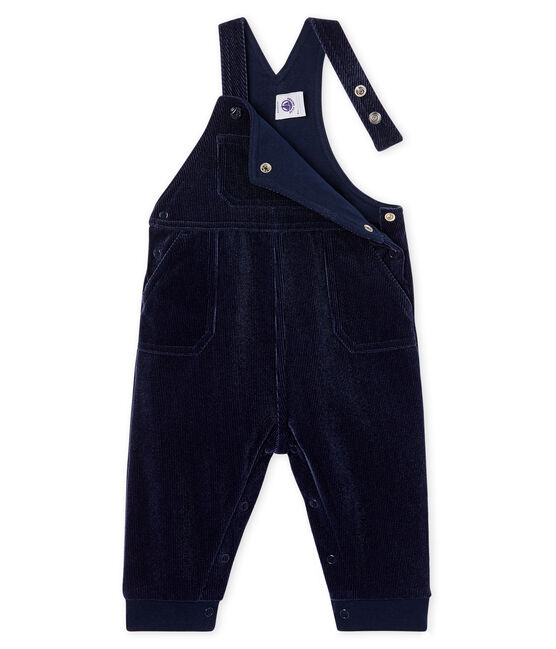 Baby Boys' Long Dungarees in Ribbed Velour Knit Smoking blue