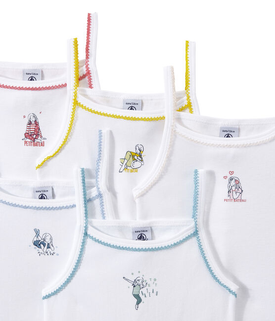 Set of 5 girls' camisoles with motifs . set
