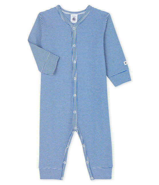 Babies' Blue Striped Footless Cotton Sleepsuit Pablito blue / Marshmallow white