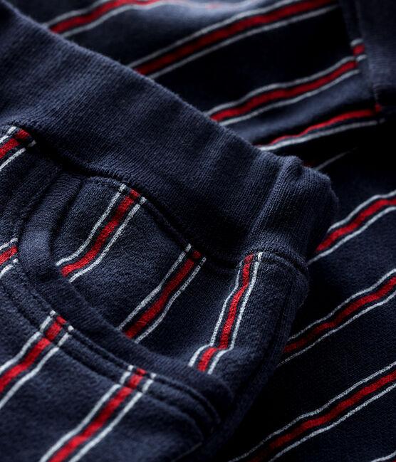 Baby boy's fleece trousers Smoking blue / Multico white