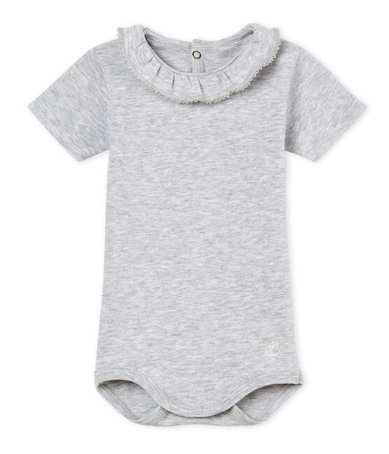 Baby girls' bodysuit with ruff Poussiere Chine grey