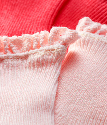 Baby Girls' Lace Socks - 2-Piece Set Groseiller pink