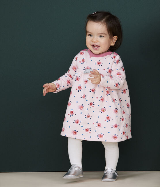 Baby girl's long-sleeved dress Minois pink / Multico white