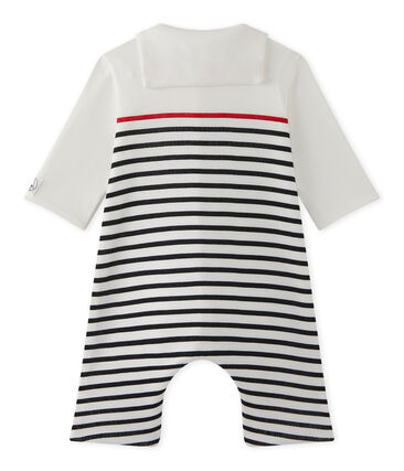 Baby boys' striped all-in-one with pea jacket collar