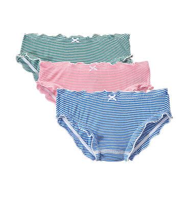 Set of 3 light cotton ruffled panties for woman