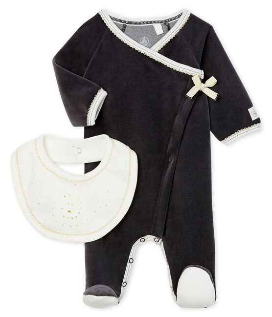 Babies' Velour Sleepsuit and Bib Set . set
