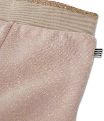 Baby girl's shiny cotton sweatshirt trousers