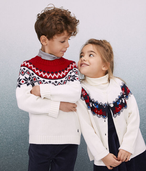 Boys' Wool and Cotton Pullover Marshmallow white / Multico white