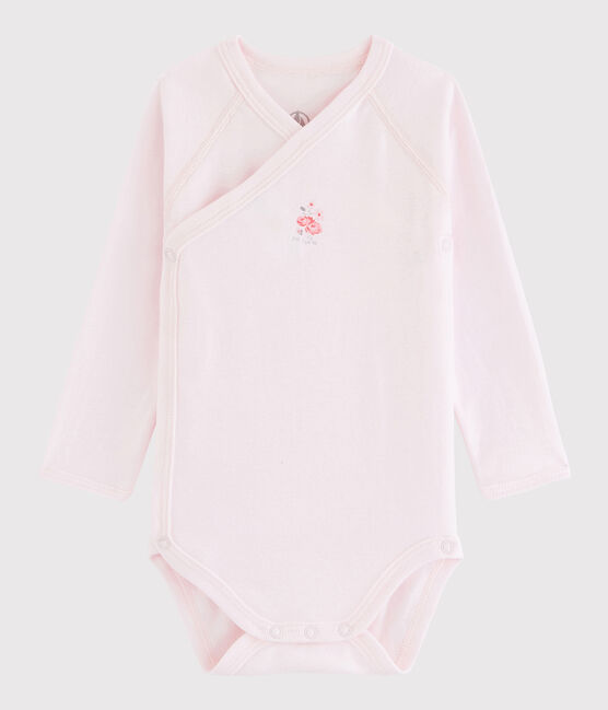Baby Girls' Long-Sleeved Wrapover Bodysuit Vienne pink