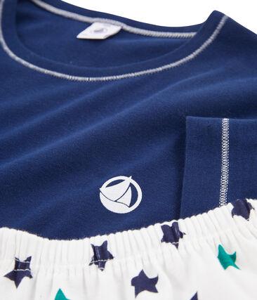 Boys' Ribbed Short Pyjamas Medieval blue / Multico white