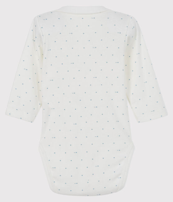 Unisex long-sleeved bodysuit with collar Marshmallow white / Acier blue