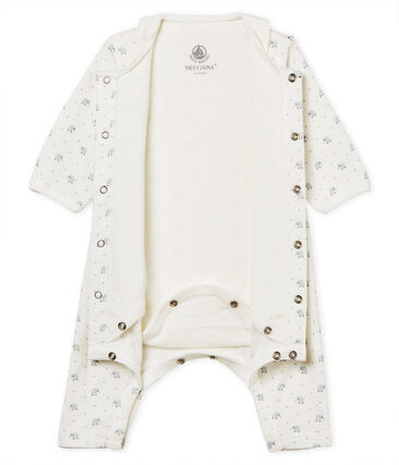 Baby boys' footless bodyjama in printed 1x1 rib knit