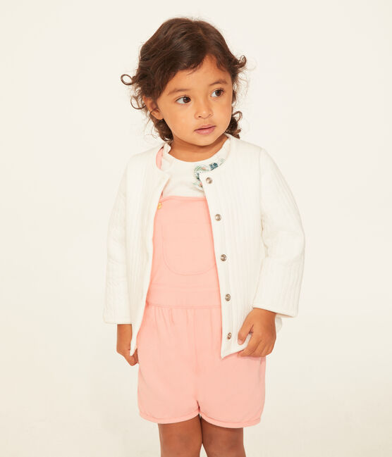 Baby girls' 100% cotton cardigan Marshmallow white