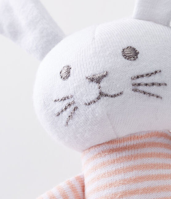 Unisex baby rabbit rattle comforter Rosako pink / Marshmallow white