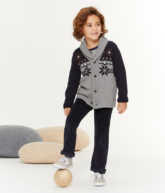 Boys' Knit Cardigan Subway grey / Smoking blue
