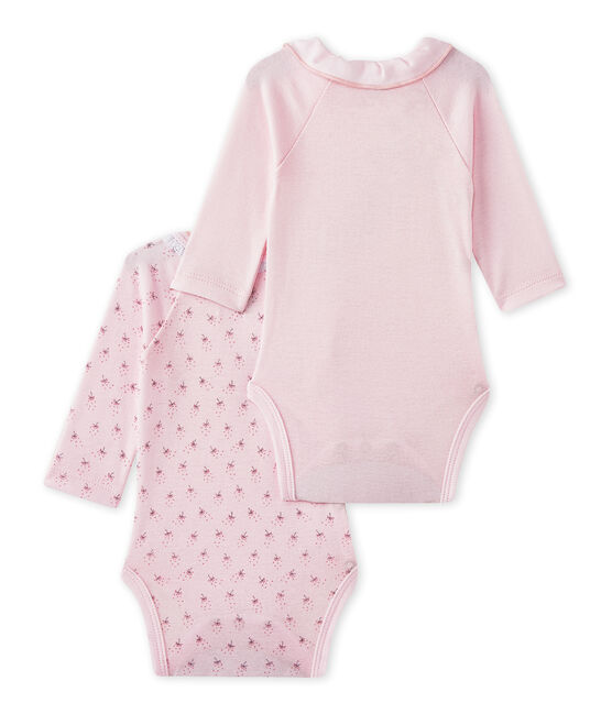 Set of 2 newborn baby girls' long-sleeved bodysuits . set