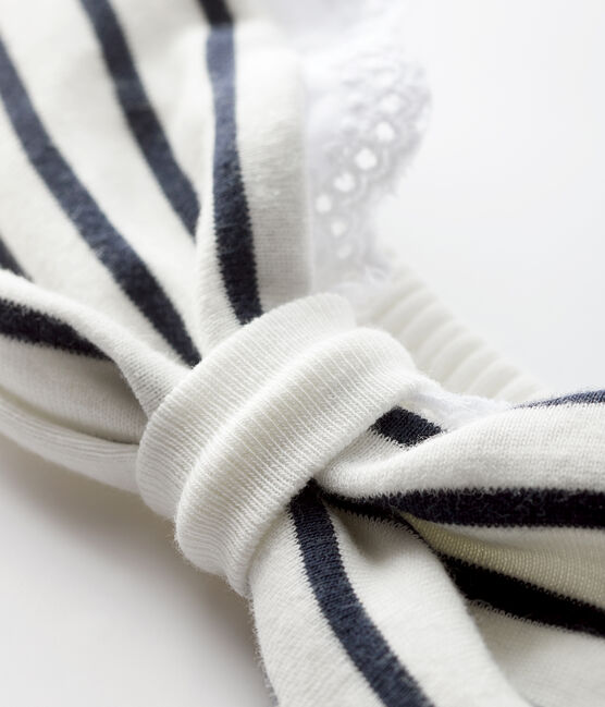 Baby girl's striped headband Marshmallow white / Smoking blue