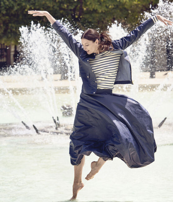 Women's suit style short raincoat. Petit bateau x Marie-Agnès Gillot Smoking blue