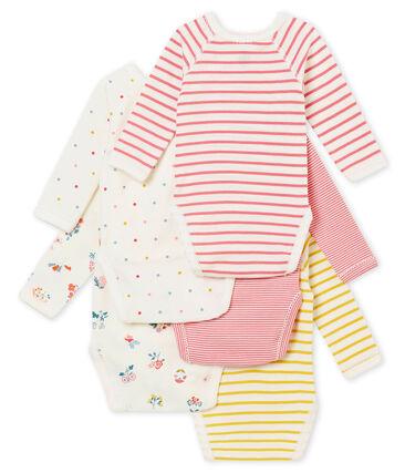Set of 5 newborn baby girls' long sleeved bodiesuits