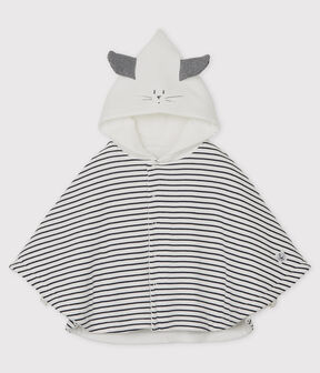 Babies' Stripy Organic Cotton Hooded Cape Marshmallow white / Smoking blue