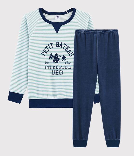Boys' Yeti Motif Velour Pyjamas Medieval blue / Multico white