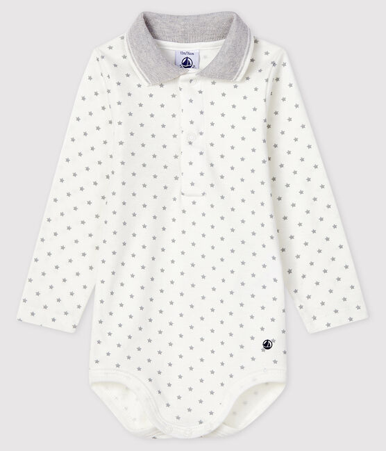 Baby's long-sleeved bodysuit with polo shirt neck Marshmallow white / Gris grey