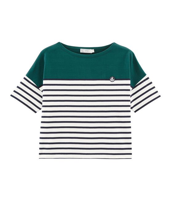 Women's short-sleeved stripy breton top Pinede green / Marshmallow white