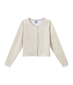 Girls' Formal Cardigan Ecume white / Em Dore brown