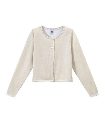 Girls' Formal Cardigan Ecume white / Em Dore brown