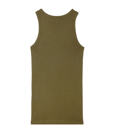 Women's vest top in heritage rib Litop green