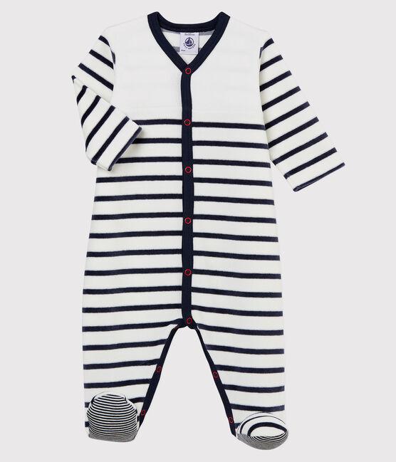 Babies' Striped Velour Sleepsuit Marshmallow white / Smoking blue
