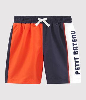 Boys' colour block Beach Shorts Touareg blue / Spicy orange