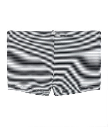 Boys' Pinstriped Swimming Trunks Abysse blue / Lait white