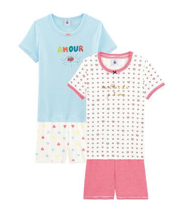 Girls' Ribbed Short Pyjamas - 2-Piece Set . set