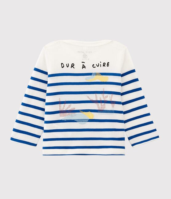 Serge Bloch baby boys'/girls' Breton top Marshmallow white / Perse blue
