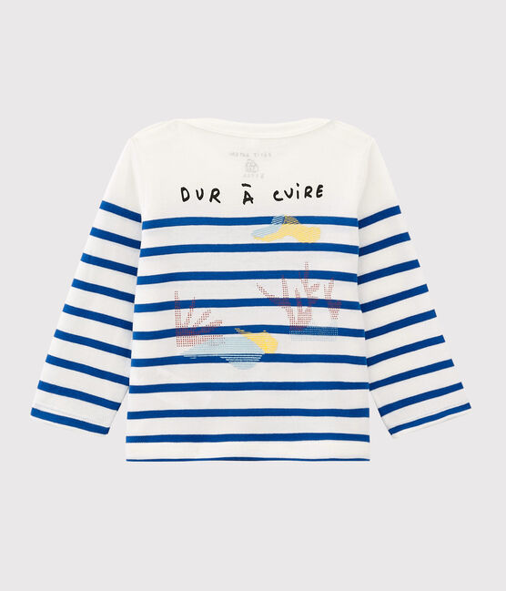 Serge Bloch baby boys'/girls' Breton top Marshmallow white / Perse blue