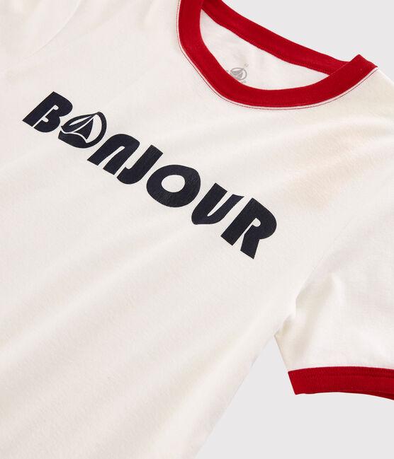 Women's printed Bonjour T-shirt Marshmallow white / Terkuit red