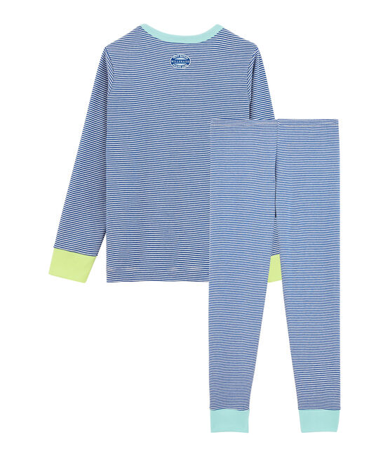 Boys' Ribbed Pyjamas Pablito blue / Marshmallow white