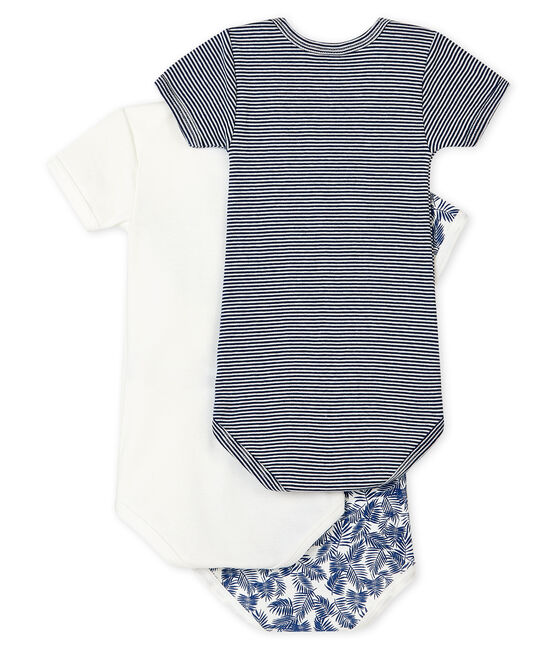 Baby boys' short-sleeved blue bodysuit – Set of 3 . set